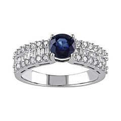 Stella Grace Blue Sapphire and 5/8 Carat T.W. Diamond 10k White Gold Ring