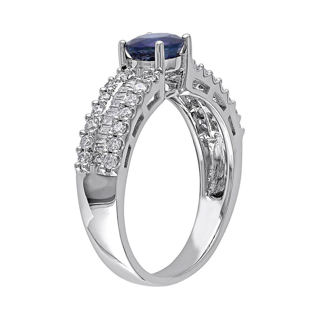 Blue Sapphire and 5/8 Carat T.W. Diamond 10k White Gold Ring