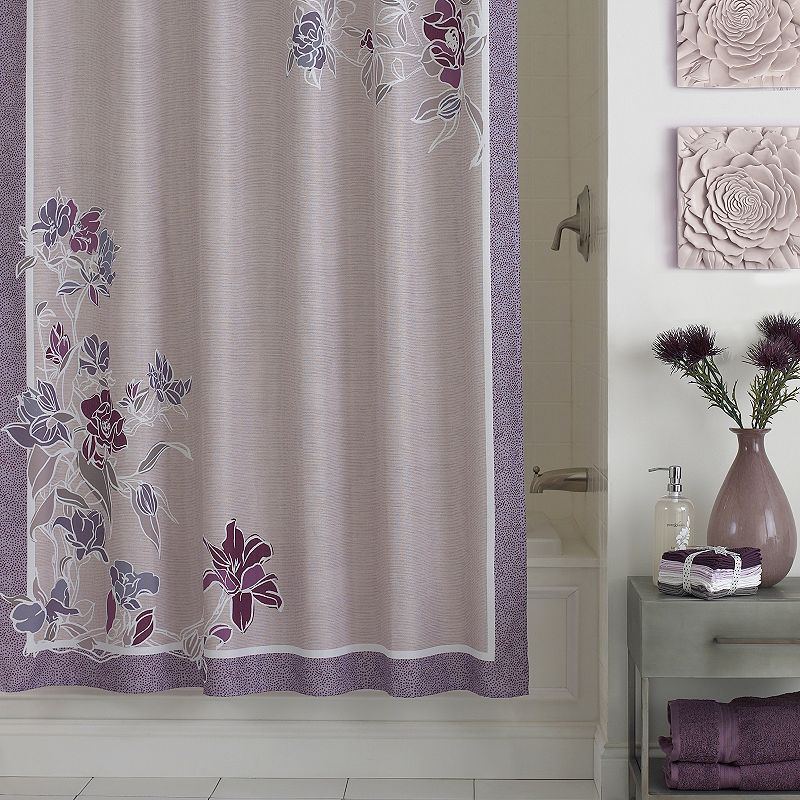 Purple Polyester Shower Curtain