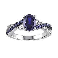 Lab-Created Blue Sapphire & 1/10 Carat T.W. Diamond 10k White Gold Crisscross Ring