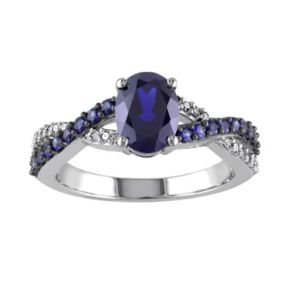 Stella Grace Lab-Created Blue Sapphire and 1/10 Carat T.W. Diamond 10k White Gold Crisscross Ring