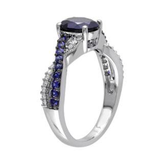 Lab-Created Blue Sapphire and 1/10 Carat T.W. Diamond 10k White Gold Crisscross Ring