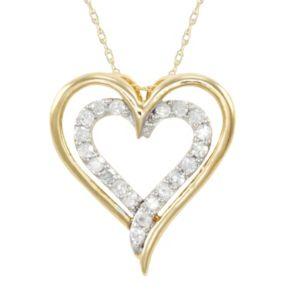 1/4 Carat T.W. Diamond 10k Gold Double Heart Pendant Necklace