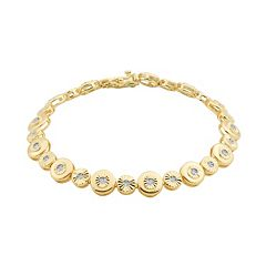 1/5 Carat T.W. Diamond 18k Gold Over Silver Circle Link Bracelet