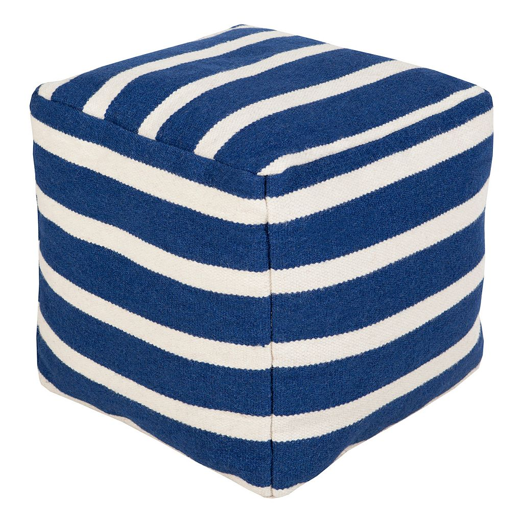 18'' x 18'' Artisan Weaver Thin Striped Pouf
