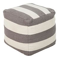 18'' x 18'' Artisan Weaver Striped Pouf