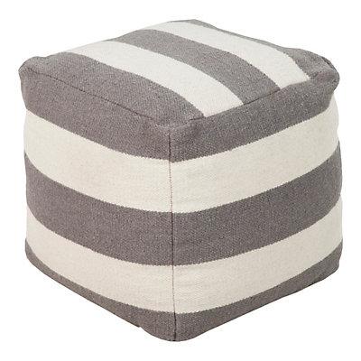 18'' x 18'' Artisan Weaver Striped Pouf