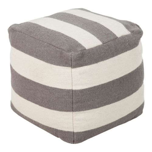 "18"" x 18"" Artisan Weaver Striped Pouf"