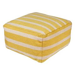 24'' x 24'' Artisan Weaver Striped Pouf