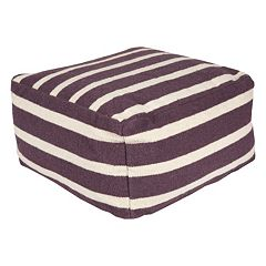 24'' x 24'' Artisan Weaver Striped Pouf