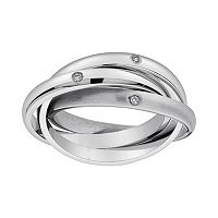 Cubic Zirconia Stainless Steel Triple Interlocking Ring