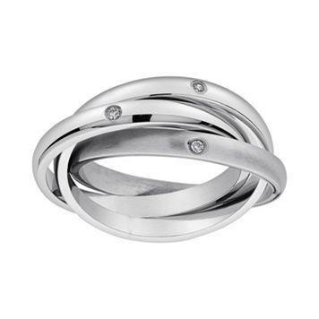 Cubic Zirconia Stainless Steel Triple Interlocking Ring