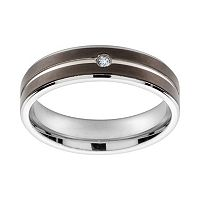 Cubic Zirconia Black Ion-Plated Titanium & Titanium Band - Men