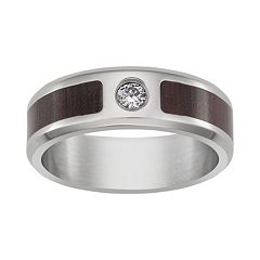 Cubic Zirconia Titanium & Wooden Band - Men