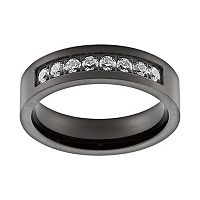 Cubic Zirconia Black Ion-Plated Titanium Band - Men