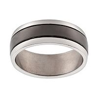 Black Ion-Plated Titanium & Titanium Stripe Band - Men