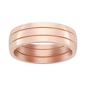 Pink Ion-Plated Titanium Stripe Band - Men