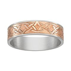 Pink Ion-Plated Titanium & Titanium Celtic Knot Band - Men