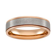 Pink Ion-Plated Titanium & Titanium Stripe Band - Men