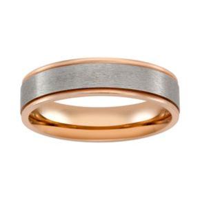 Pink Ion-Plated Titanium and Titanium Stripe Band - Men