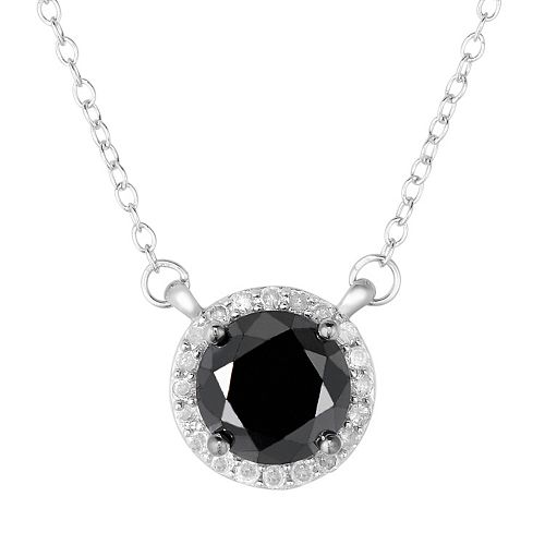 2 Carat T.W. Black & White Diamond Sterling Silver Halo Necklace