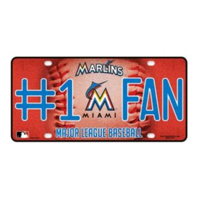 Miami Marlins #1 Fan Metal License Plate