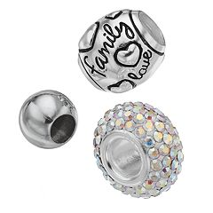 Individuality Beads Crystal Sterling Silver 'Family Love' Spacer Bead Set