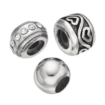 Individuality Beads Crystal Sterling Silver Spacer Bead Set