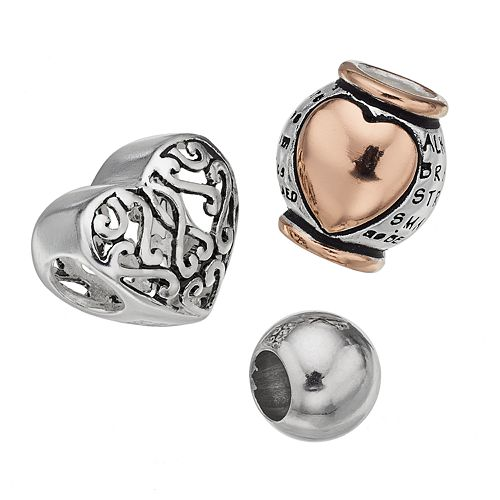 "Individuality Beads Sterling Silver Two Tone ""Braver Stronger Smarter"" Bead Set"