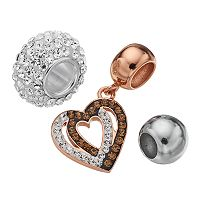 Individuality Beads Crystal Sterling Silver Two Tone Bead & Heart Charm Set