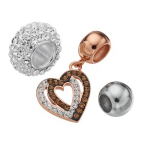 Individuality Beads Crystal Sterling Silver Two Tone Bead and Heart Charm Set