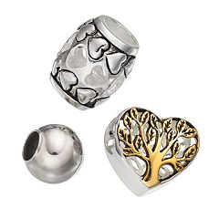Individuality Beads Sterling Silver Two Tone 'Family' Tree & Heart Bead Set