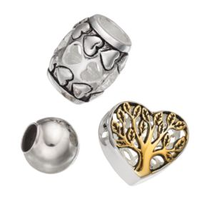 """Individuality Beads Sterling Silver Two Tone """"Family"""" Tree & Heart Bead Set"""