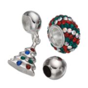 Individuality Beads Crystal Sterling Silver Bead & Christmas Tree Charm Set