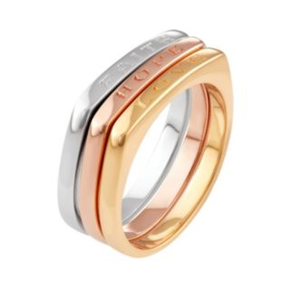 "Journee Collection Tri Tone Sterling Silver ""Faith Hope Love"" Ring Set"