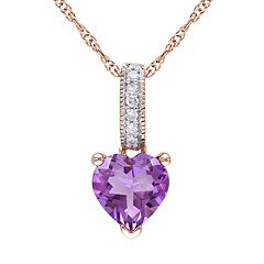 Amethyst & Diamond Accent 10k Rose Gold Heart Pendant Necklace