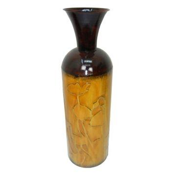 Floral Silhouette Metal Vase