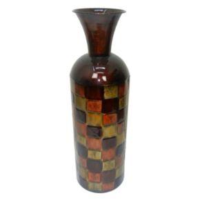 Geometric Textured Metal Vase