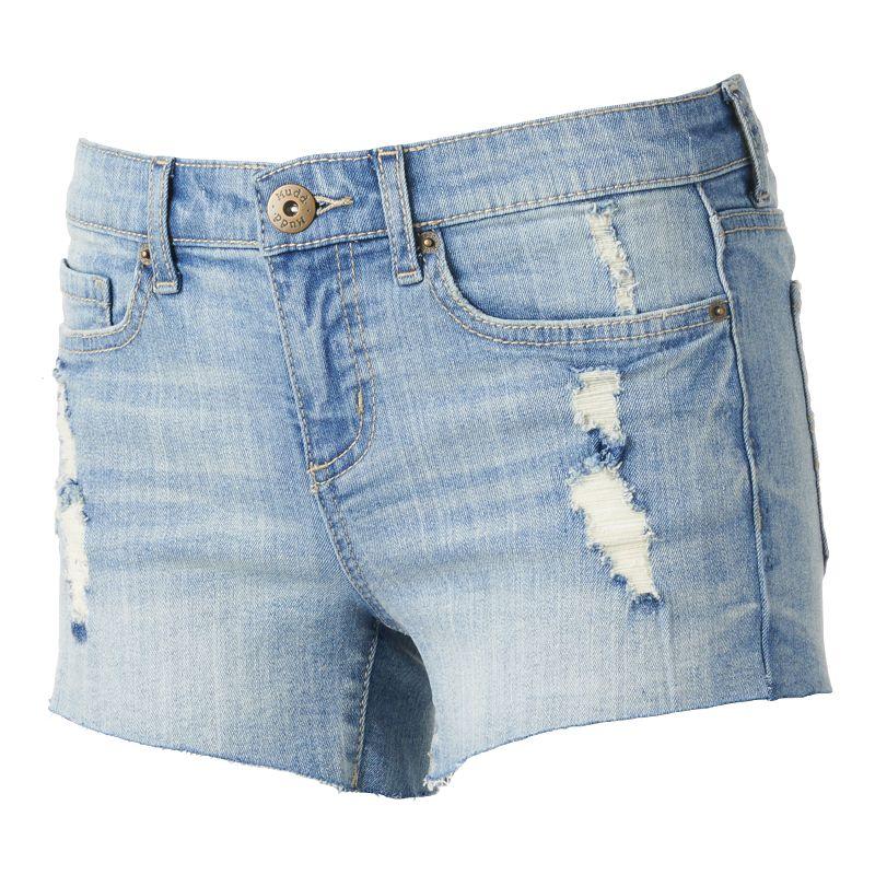 Mudd Destructed Cutoff Midi Jean Shorts - Juniors