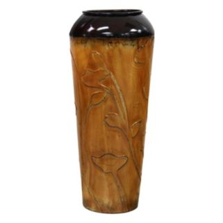 Floral Silhouette Small Metal Vase