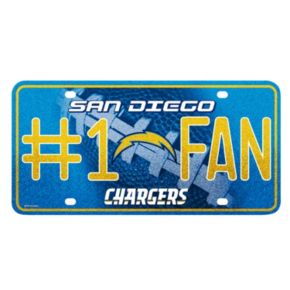 San Diego Chargers #1 Fan Metal License Plate