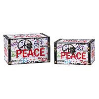 Household Essentials Peace Sign 2 pc Storage Box Set