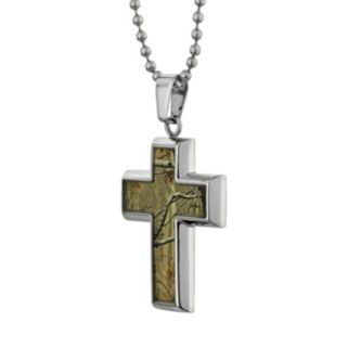 LYNX Stainless Steel Camouflage Cross Pendant Necklace - Men