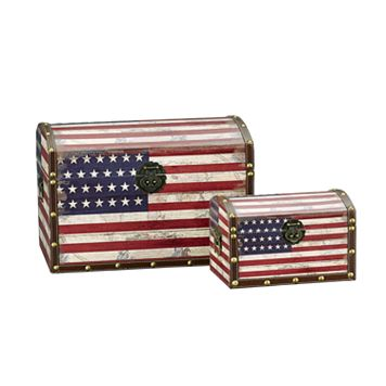 Household Essentials American Flag 2-pc. Storage Trunk Set - Large/Small