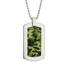 LYNX Stainless Steel Camouflage Dog Tag Neckace - Men