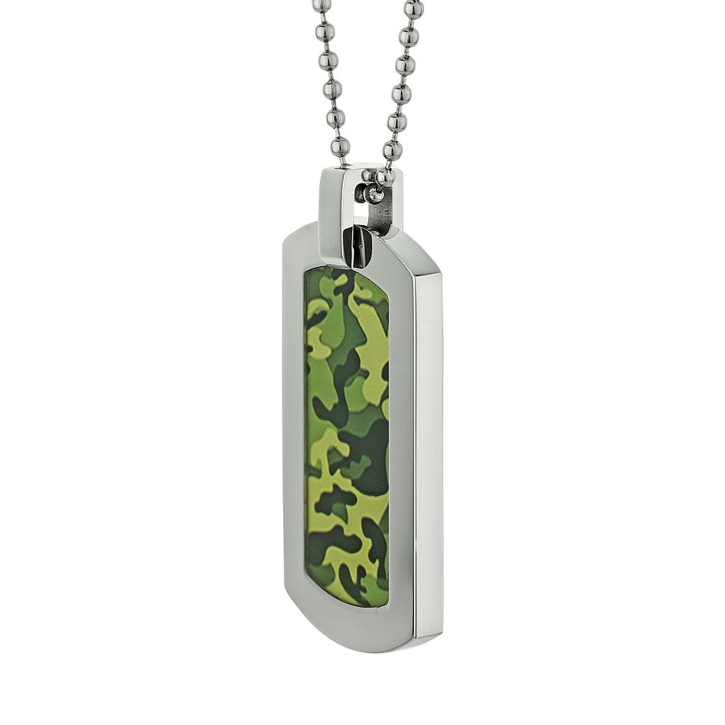 LYNX Stainless Steel Camouflage Dog Tag Necklace - Men