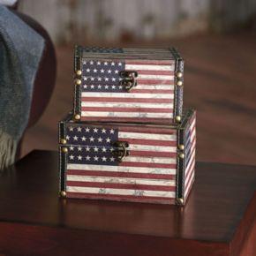 Household Essentials American Flag 2-pc. Storage Box Set - Medium/Small