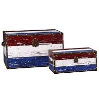 Household Essentials Red, White & Blue 2-pc. Storage Trunk Set - Jumbo/Medium