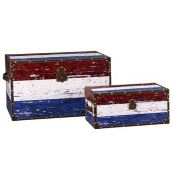 Household Essentials Red, White and Blue 2-pc. Storage Trunk Set - Jumbo/Medium