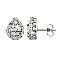 1/10 Carat T.W. Diamond Sterling Silver Teardrop Stud Earrings